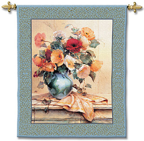 Jennie'S Mantle I Tapestry Wall Hanging - Floral Picture, 44in X 53in