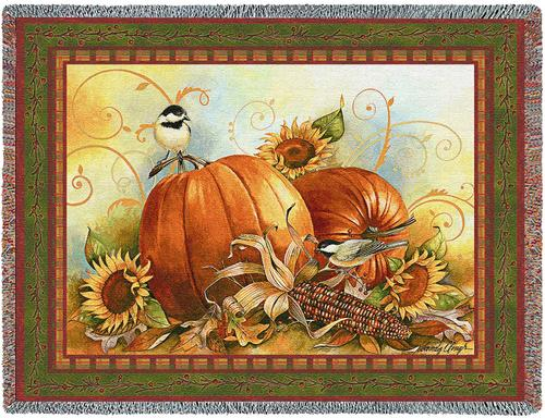 Joyful Harvest Tapestry Throw, 70in x 53in