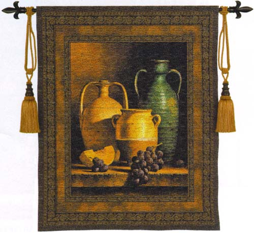 Jugs On A Ledge Tapestry Wall Hanging - Still Life Picture, 45in X 53in