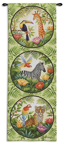Jungle Children Tapestry Wall Hanging - Kids Decor, 17in X 47in