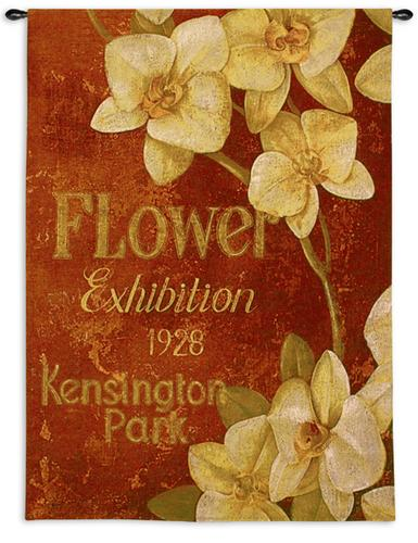Kensington Exhibition Floral Tapestry Wall Hanging - Vintage Poster With Flowers, 40in X 53in