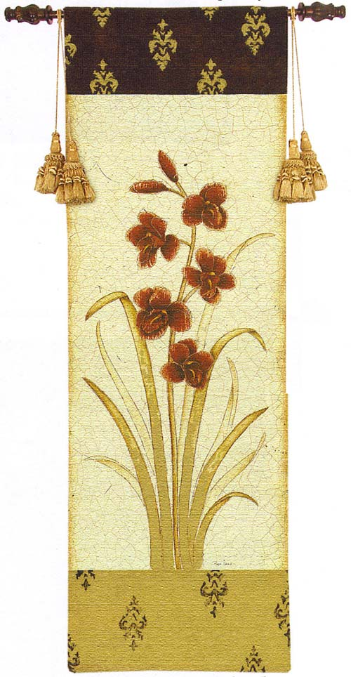 Kimono Orchid Crimson II Tapestry Wall Hanging - Botanical Picture, 27in X 80in
