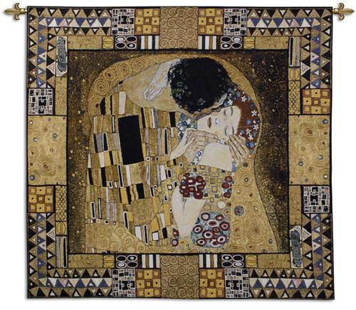 Kiss Captured Romantic Tapestry Wall Hanging - Klimt Painting, 55in X 63in
