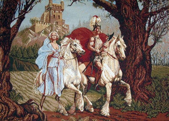 Medieval Tapestry Knight Rider & Lady (One Of Our Best Medieval Knight Pictures)