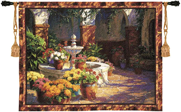 La Fuente Seca Fountain Tapestry Wall Hanging - Floral Terrace With The Fountain, 40in X 53in