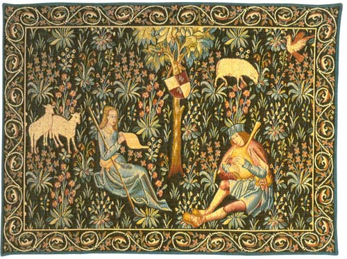 La Lecon De Chant Medieval Tapestry Wall Hanging - Pastoral Scene, 27in X 38in