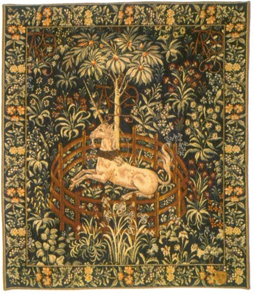 La Licorne Captive Medieval Wall Tapestry - Unicorn Picture, 37in X 30in