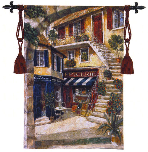 La Taverne Chez Elle Tapestry Wall Hanging - European Street Cafe Scene Picture, 36in X 53in