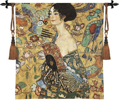 Lady With Fan By Gustav Klimt Wall Tapestry Painting, 49in X 53in