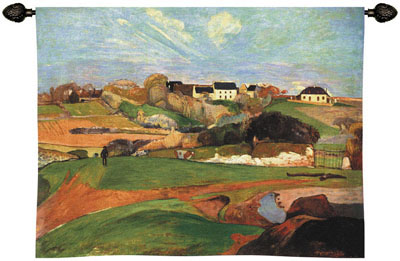 Landscape At Le Pouldu Tapestry Wall Hanging - From A Painting By Paul Gauguin, 53in X 40in