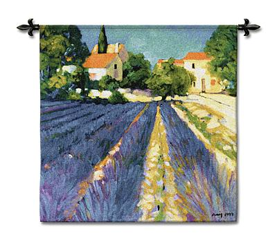 Lavender Fields European Landscape Wall Tapestry - Countryside Picture, 53in X 53in