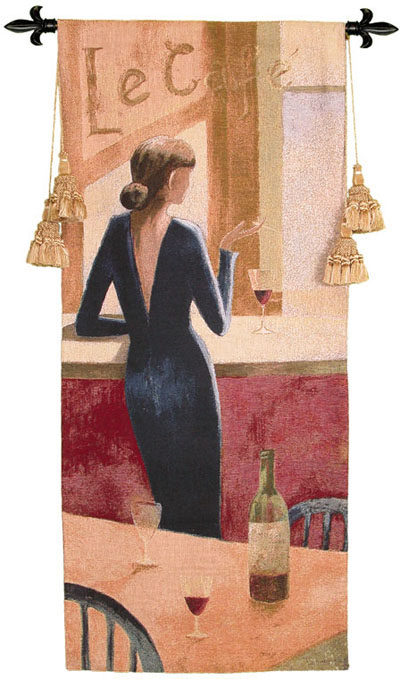 Le Cafe Tapestry Wall Hanging - Beautuful Lady Portrait, 24in X 53in