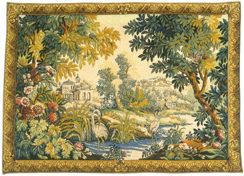 Le Lignon Classique Pastoral Landscape Wall Tapestry - Egrets By The River, 36in X 54in