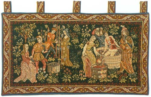 Le Vin Et La Vigne (Vintage) Medieval Wall Tapestry - The Wine Making Scene, 23in X 44in