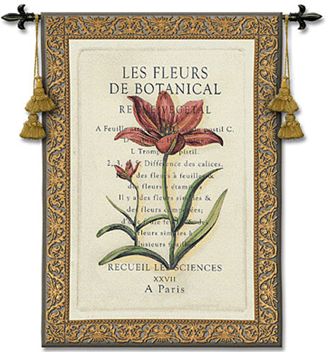 Les Fleurs I Tapestry Wall Hanging - Botanical Picture, 38in X 53in