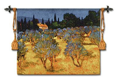 Les Olives En Printemps European Landscape Wall Tapestry - Countryside Picture, 53in X 42in