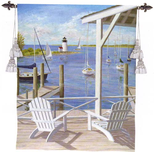 Lighthouse View Nautical Tapestry Wall Hanging - Waterfront Terrace, 40in X 53in