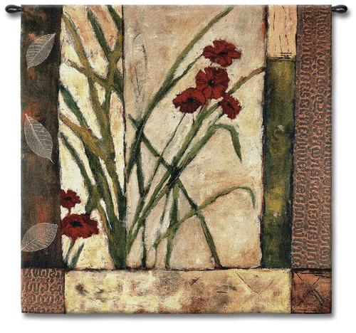 Lilies II Floral Tapestry Wall Hanging - Modern Abstract Design, 53in X 53in