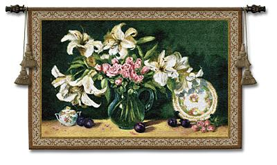 Lilies & Plums Still Life Wall Tapestry - Floral Bouquet With Fruits, 53in X 37in