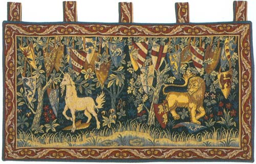 Lion et Licorne Heraldiques Medieval Wall Tapestry - Unicorn With Shields, 16in x 33in