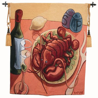 Lobster Fest Still Life Tapestry - Food & Wine Picture Picture, 53in X 53in