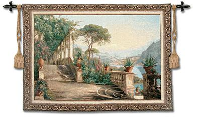 Lodge At Lake Como Mediterranean Seaside Wall Tapestry, 76in X 53in