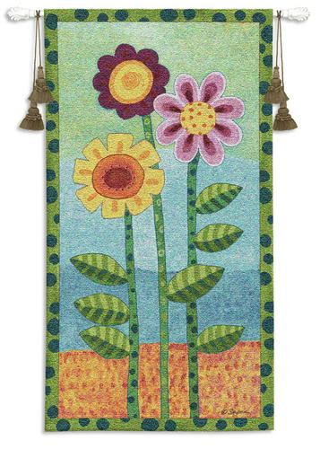 Long Stem Floral II Children Tapestry Wall Hanging - Kids Decor, 26in X 48in