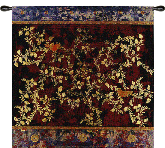 Love Birds Oriental Tapestry Wall Hanging - Ethnic Motifs, 35in X 35in