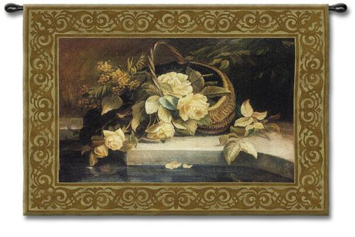 Magnolia Reflections Still Life Wall Tapestry - Flowers In A Vase Picture, 53in X 38in