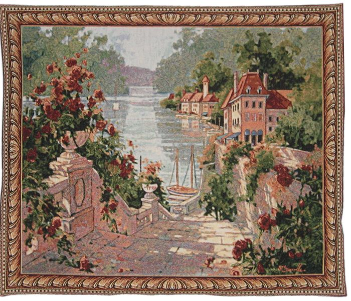 Mediterranean Seaside Picture Tapestry Wall Hanging - Magnolia Terrace