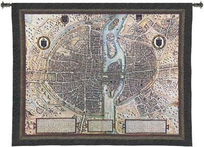 Map Of Paris Map Tapestry Wall Hanging, 53in X 42in
