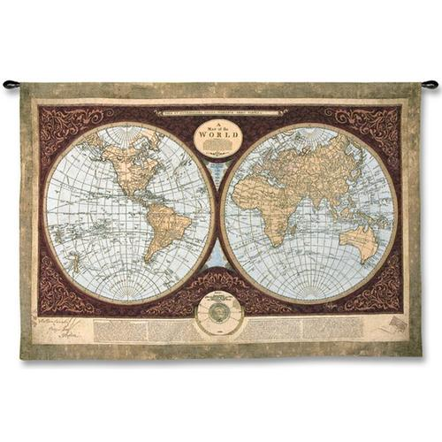 Map Of The World Map Wall Tapestry, 76in X 53in