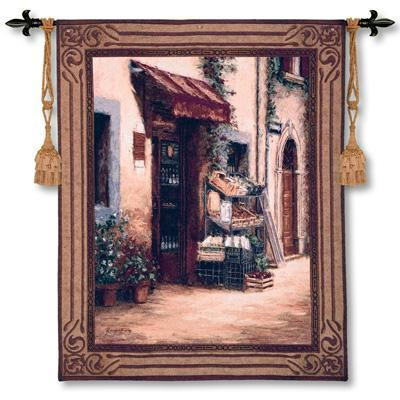 Maracato Cityscape Tapestry Wall Hanging - European Town Scene, 42in X 53in