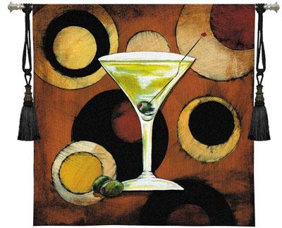 Martini Cocktail Wine Still Life Wall Tapestry - Abstract Design In Warm Colors, 36in X 36in