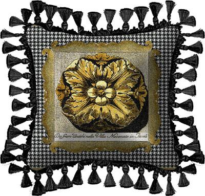 Medallion Modern Tapestry Cushion - Botanical Design, 27in x 27in