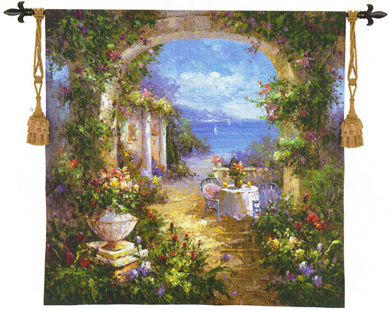 Mediterranean Arches II Landscape Tapestry Wall Hanging, 35in X 35in