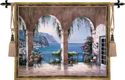 Mediterranean Arches Landscape Tapestry Wall Hanging, 53in X 42in