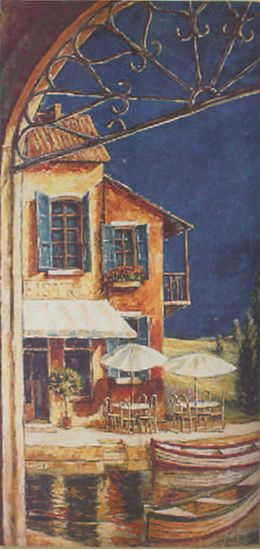 Mediterranean Bistro Cafe Picture Tapestry Wall Hanging, 35in X 70in