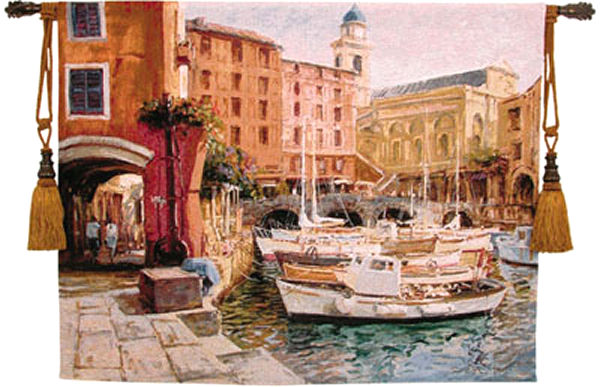 Mediterranean Colors Cityscape Tapestry Wall Hanging - Nautical Venice Picture, 53in X 42in