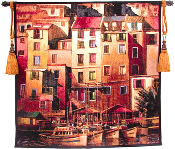 Mediterranean Gold Cityscape Tapestry Wall Hanging - Harbor View, 53in X 53in
