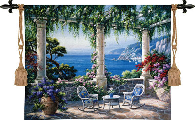 Mediterranean Terrace Landscape Tapestry Wall Hanging, 53in X 40in
