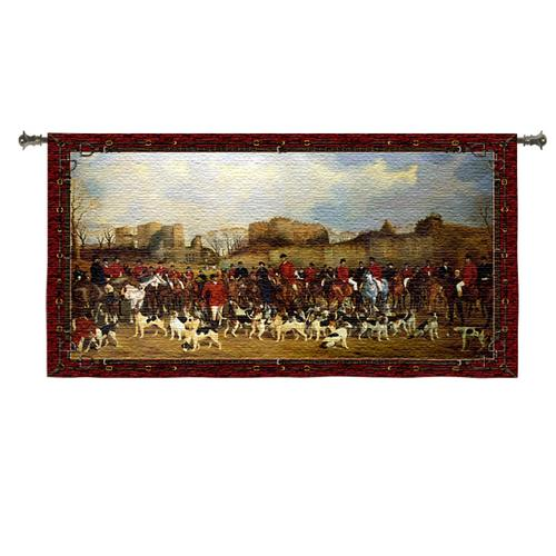 Meet By North Warwick Hunting Tapestry Wall Hanging - British Hunt Scene, 53in X 35in
