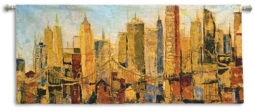 Metro Heights Contemporary Cityscape Tapestry Wall Hanging, 63in X 21in