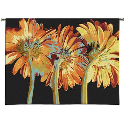 Miami Blooms Contemporary Tapestry Wall Hanging - Botanical Design In Bright Colors, 53in X 39in