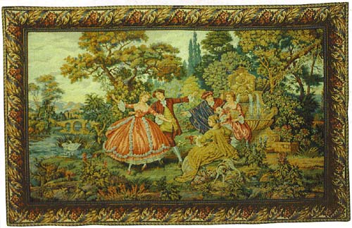 Francois Boucher Pastoral Tapestry Romantic Scene La Fontaine - Fountain, 46in X 66in