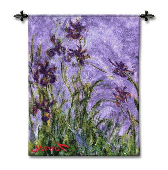 Monet'S Irises Fine Art Wall Tapestry - Abstract Floral Painting, 38in X 44in