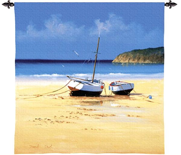 Moorings Low Tide Nautical Wall Tapestry - Boats Picture, 53in X 53in