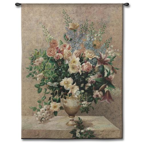 Morning Blossoms Still Life Wall Tapestry - Flowers In A Vase Picture, 40in X 53in