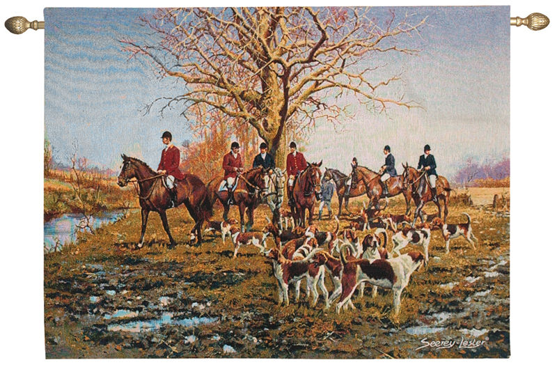 Morning Gathering Hunting Tapestry Wall Hanging, 47in X 35in