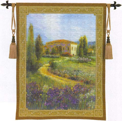 Morning In Spain Landscape Tapestry Wall Hanging, 40in X 53in